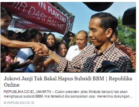Kenaikan Harga BBM: Jokowi VS Prabowo